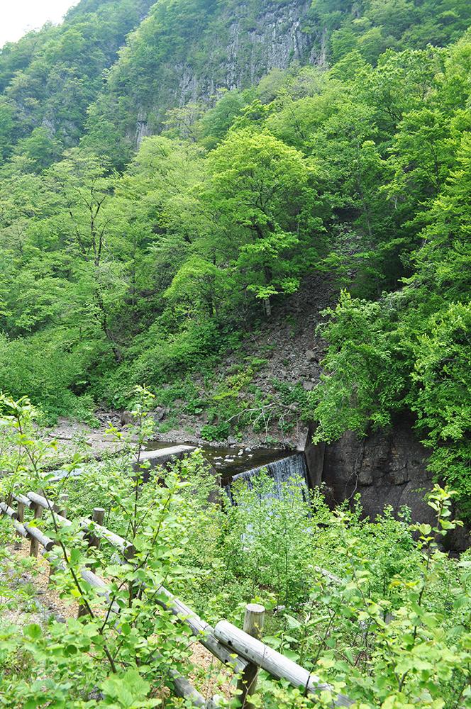 鉛川最上流部の治山ダム。治山ダムは砂利で満杯の状態になり、川水はこのたまった砂利の上部を流れているため、水流が山の斜面にあたり、川に面した山の斜面を浸食して、山の斜面がずり落ちている。