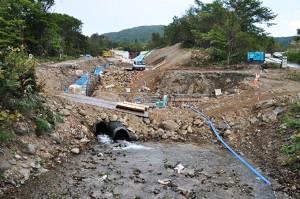 国道227号線の橋のすぐ上流では大規模な工事が行われていた。ここまで工事をしなければならない必要性に疑問を持つ。