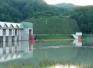 2004年06月13日に撮影した二風谷ダムの湛水域の右岸側に苫小牧東部へ送水するための取水口および取水施設がある。