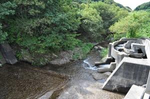 良瑠石川本流の下の治山ダムに取り付けられた「らせん式」魚道。清掃直後は水が流れているが、常時メンテナンスが必要な魚道である。