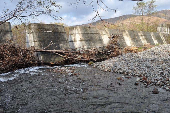 2011年11月06日に撮影。スリットダムの間口は狭く、流木がひっかかりスリットを塞ぐため、砂利が止められてしまう。期待通りのスリットの効果は認められない。