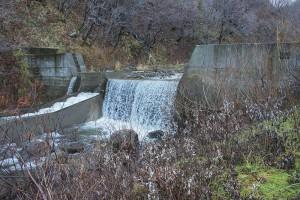 治山ダムに引き込み型の魚道が設置されている。撮影:2013年11月21日