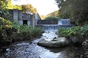 スリット化前の本流の下の治山ダム。2010年10月6日