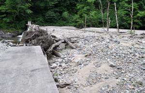 スリットの間口が狭いので、流木がスリットを塞ぎ、大量の砂利がたまり、コンクリート式の治山ダムと何ら変わらない。この大量の流木や土砂は、上流の治山ダムの下流で川底が下がったために、川岸が崩れ、山の斜面がずり落ちて、そこから土砂と流木が大量に発生し、それが流れてきたものだ。また、たまった砂利の大きさは小さいものや微細砂、シルト(泥)が目立つことに注目してほしい。