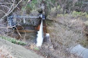 落部川支流下二股川には巨大な砂防ダムがある。砂利は満杯になり、堆砂は樹林化している。こうした砂防ダムは砂利が満杯になっても、さらに上流へ、上流へと砂利は貯まり続ける。砂防の科学者らは、砂防ダムが満杯になれば、やがては砂利が流れ出すようになるから大丈夫と説明する。しかし、樹林化したのではダムから流れ出すのは砂やシルト(泥)ばかりではないか。