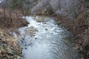 魚道の出口と堤体のレベルが同じなので、砂利は平らに堆積している。