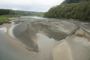 貯砂ダムのすぐ上流の額平川。大量の堆砂が堆積し、異常なほどに川幅が広がっている。この異常な川の姿を見て、それを異常と感じない社会はよほど異常なのであろう。巨大ダムの二風谷ダムがこうした異常な事態を招いているのに、そのことには全く触れずに、さらにこの川の上流に巨大な平取ダムを建設しようとしているのだから。