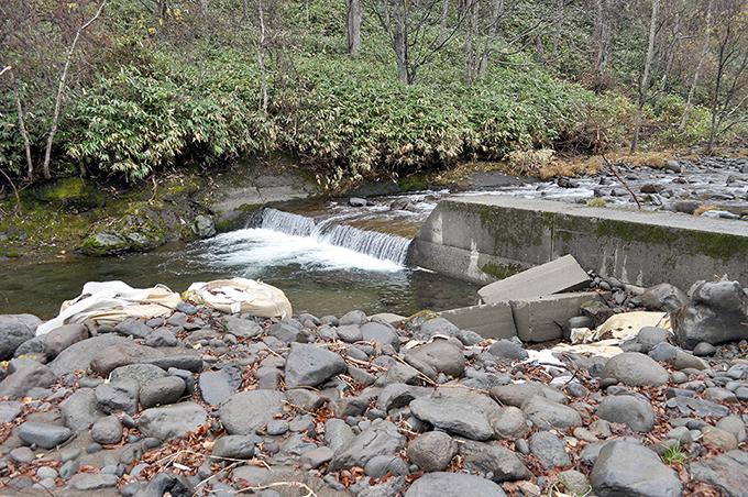 そのすぐ上に治山ダムが連続して設置されている。一番下の治山ダム。