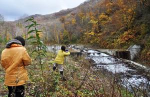 翌年も石狩市民ネットワークと合同現地調査を行った。大規模な治山ダムに引き込み型の全断面魚道が付けられている。治山ダムの堤体に切り込みを入れて魚道を引き込んでいる手の込んだ魚道だ。これをスリットダムなどと誤解しないようにしていただきたい。魚道の上流側は治山ダムの堤体と同じ高さになっているから、魚道を含めた全体が治山ダムとなっている。高額な引き込み魚道付き治山ダムということになる。2012年10月31日