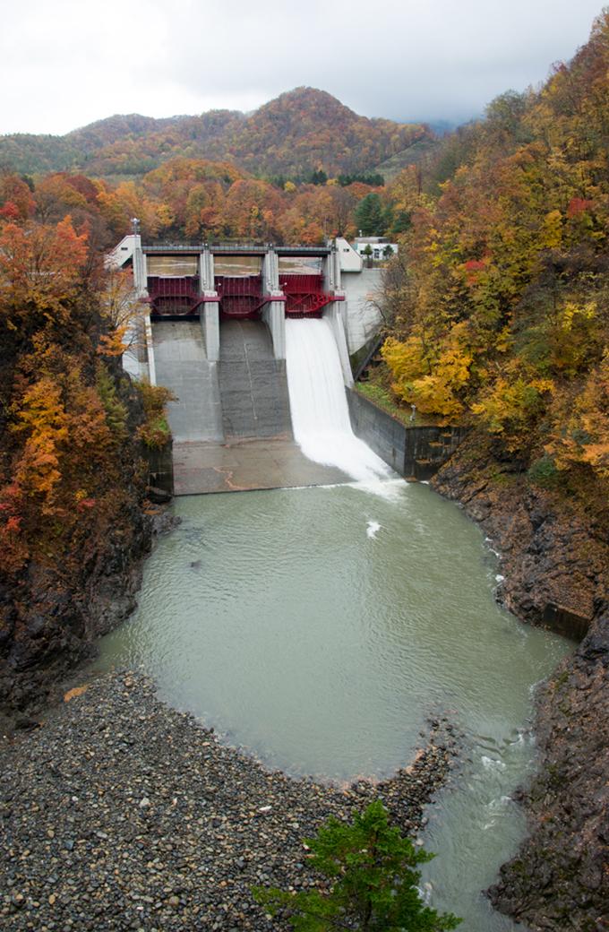 二風谷ダムのさらに上流に、ほぼ砂利で埋まってしまった岩知志ダムがある。ダムの下流の小ぶりの砂利は、このダムが砂利で埋まっていることを示す何よりの証拠だ。