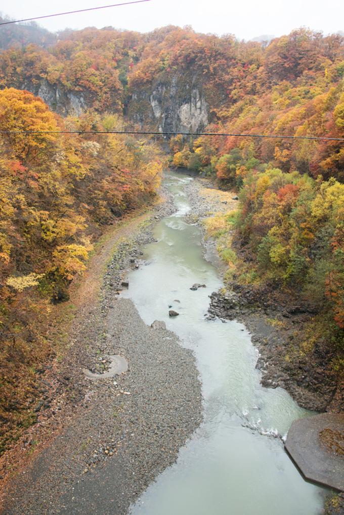 岩知志ダムの下流側。小ぶりの砂利ばかりが目立つ。急峻な川には巨石があるはずである。この川にあった巨石はいったいどこへ消えたのだろうか。