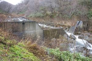 治山ダムは逆台形型にスリット化され、川は一つながりになっている。