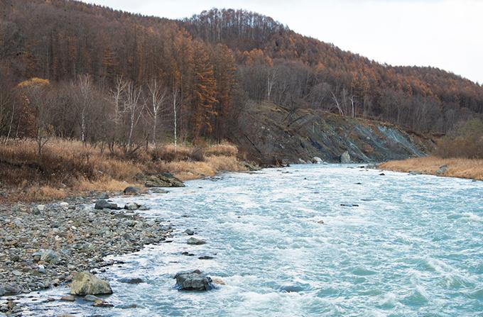 斜面の崩落は下流へと広がっている。川底の砂利が失われた結果、川に面した斜面がずり落ちるいわゆる山脚崩壊である。治山ダムは川底の砂利が押し流されて川底が下がって山の斜面が崩壊しないようにするために、川底の砂利を止めることを目的に建設されるダムのことである。しかし、ダムが砂利を止めることで、ダムの下流で川底が下がる現象が見られることは実に皮肉なことである。