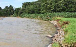 川底が下がり続けているために、とうとう雨による増水で、国道277号線の斜面が砂山崩しのようにずり落ちてしまい、国道277号線は通行止めになった。