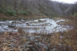 スリット化した治山ダムを上流側から見ると、治山ダムに貯まっている砂利は水が流れるところ周辺が流されただけで、全量が流れ出してはいない。