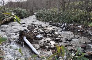 この砂利はどこから流れてきたのだろうか。2010年12月10日