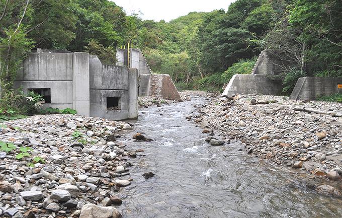 同、逆台形型にスリット化された治山ダム。ここにも魚道が取り付けられているが砂利で埋まって見えない。魚道は全く不要である。2012年9月17日