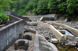 スリット化後の治山ダムである。本体をスリット化し、副ダムは魚道を取り付けるにとどまり、中途半端なスリット化となった。