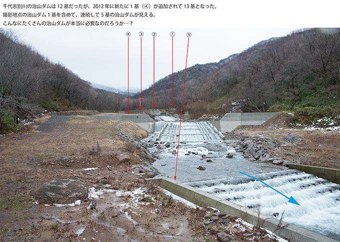 この治山ダムの完成後の姿である。驚くほどに規模が大きく、引き込み型の全断面型の魚道も大規模に贅沢に取り付けられている。ざっと見ただけで、5基もの治山ダムが連続している。ひしめき合うほどに治山ダムが本当に必要なのだろうか。北海道の公共事業評価はいったいどのように行われているだろうか。 この治山ダム建設に関わる科学者とはいったいどのような考え方をしている人たちなのだろうか。また、魚類学者が関わっているとすれば、どのような理念を持っている人たちなのだろうか。現場を見た感想は、川を治山事業に利用し、川を壊しているとしか見えてこない。2013年11月21日。