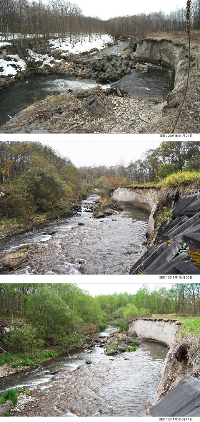 砂利を止めようとコンクリートブロックを敷き詰めたところ、下流側で川底が掘られて、コンクリートブロックがグシャグシャに壊れた。その後、新たに袋体床固工を追加して補修した。しかし、コンクリートブロックや袋体床固工を敷設すればするほどに、川岸の浸食が進んだ。(久山川・河岸崩壊の変遷)