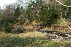 川底が下がり、山の斜面がズリ落ちそうになっている。砂山崩しと全く同じ原理で山の斜面が崩れる。撮影:2009年10月31日