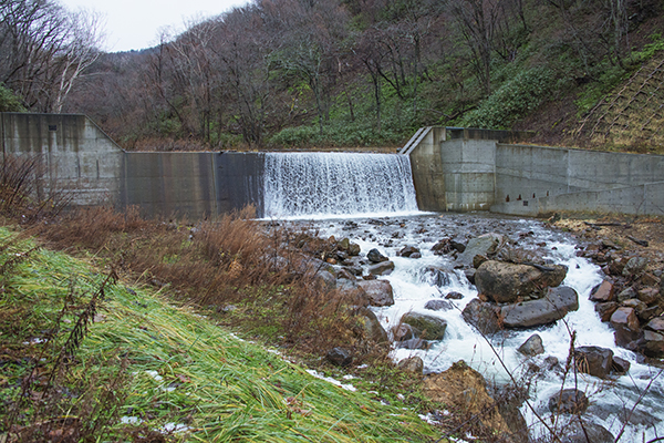 一番上の治山ダムは全面コンクリートのダムとなっていた。下流の治山ダムを逆台形型にスリット化しても、上流で砂利の流下を止めている限り、スリット化の効果は得られないだろう。写真右手には魚道が取り付けられているが、効果の程は分からない。【写真-㉔】治山ダムには上端まで一杯に砂利が貯められていた。