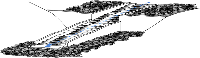 引き込み魚道の構造(平たく+反転したもの)