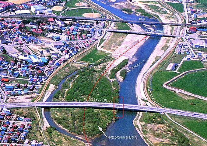 1990年代の遊楽部川河口付近。