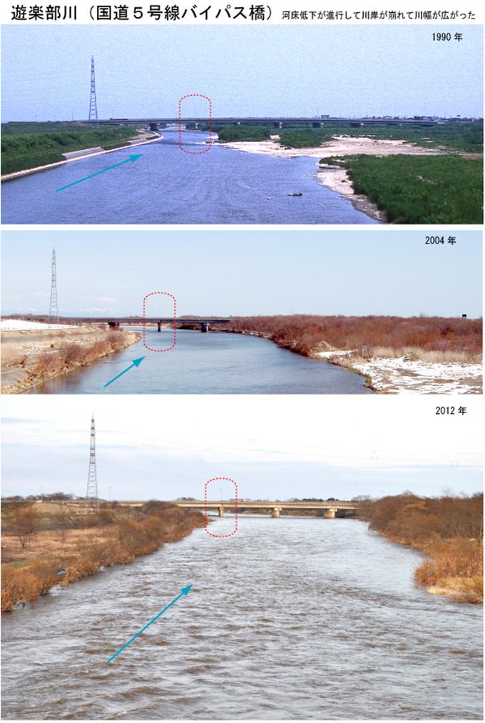 遊楽部川河口付近の国道5号線バイパス橋の変遷です。