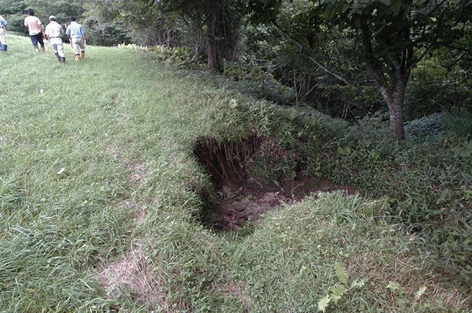 牧草地から流れ出した水が浸食の始まりとなっていた。
