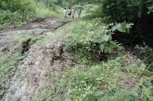 開墾された牧草地から流れ出した水が作業用の道路を川のようになって流れ、道路を浸食し、川に面した斜面を流れ落ち、斜面を崩壊させていた。
