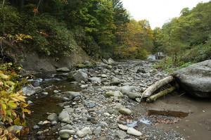 左側の山の斜面はズリ落ちている。河原には微細な砂が目立つ。
