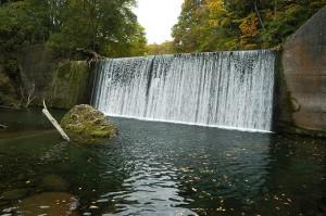 主ダムの直下は深いプールになっている。