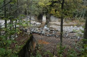 治山ダムはすでに砂利で満砂になっている。