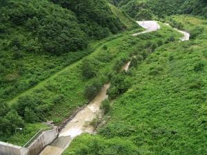 ダムから放流される水は泥水だ。いつまで続くのだろうか…