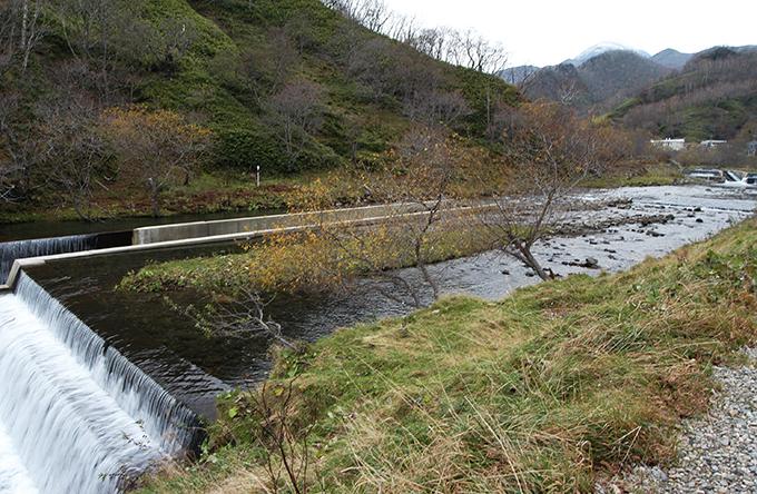 近づいてみると…引き込み式魚道付きのダムだった。