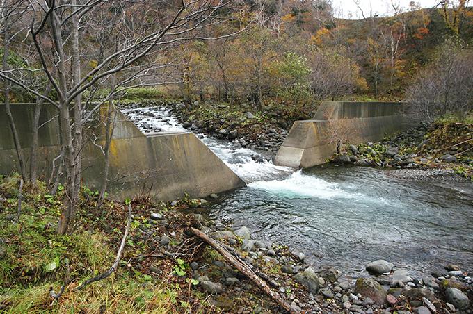 やはり治山ダムがあった。逆台形型に大きく開いた治山ダムだが、ダムのすぐ下は川底が掘られて、深くなっていた。さらに年月が経てば段差ができるだろう。