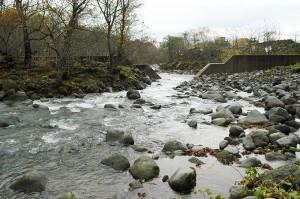 治山ダムを上流側から見た。中央部の川底は治山ダムの底部と同じくらいまで下がっていた.治山ダムの下流の方では、河床が下がり、左右両岸が崩れ、垂直の崖状になっているのが分かる。