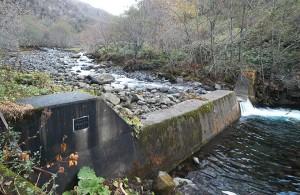 少しゆくと、治山ダムがあった。やはり、堤体の一部をV字型に切り込んだ細工が施されていた。