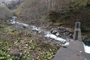 この治山ダムに貯まった砂利の上を水が流れ、川岸を削っているのがお分かりいただけると思う。