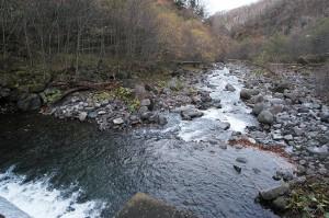 治山ダムに近づき、下流を見た。