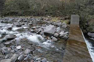 治山ダムは砂利で一杯になっている。