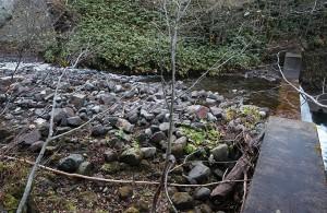 この治山ダムも砂利で一杯になっている。