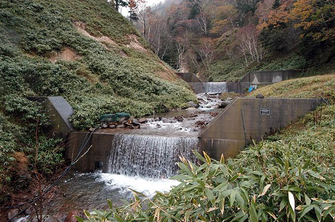 林野庁の2基の治山ダムが見える。