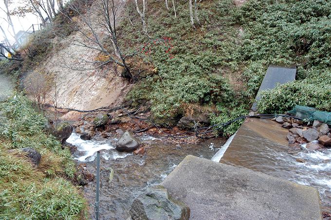 治山ダムから下流を見た。川底が下がり気味で、川岸が崩れているのが分かる。
