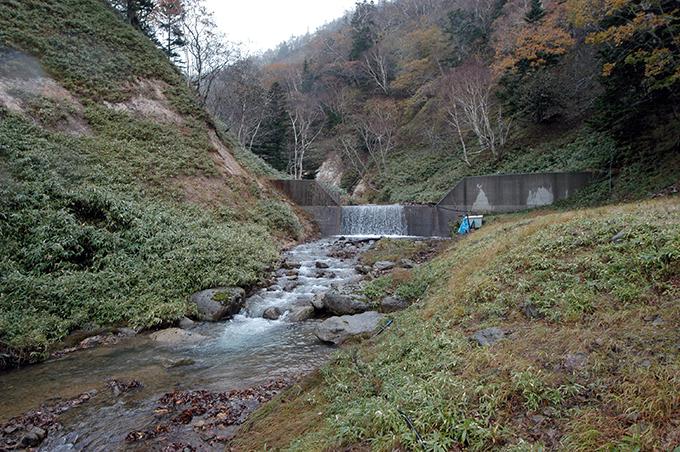 2基の治山ダムのうち、上の治山ダム。