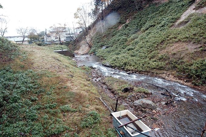 上の治山ダムから下流を見た。山脚崩壊の痕跡があり、今後も山脚崩壊が続くことだろう。