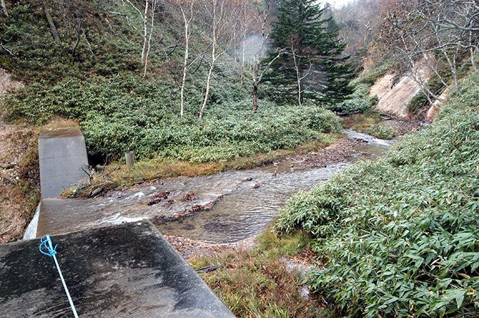 ダムの上流を見る。