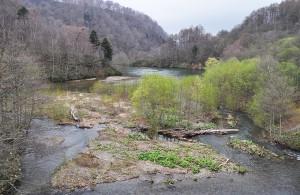 駒ヶ岳ダムの川の流入部は土砂が堆積し、広がっている。