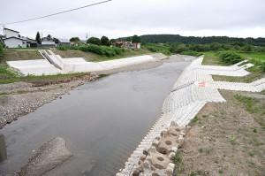 糠野橋の下流側は既に川幅を広げていた。右護岸に農業用取水口が見える。2010年7月01日。